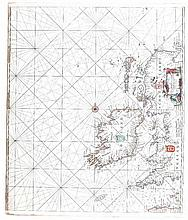 Jacob Robyn, Amsterdam c.1680  A seachart of Ireland and the West Coast