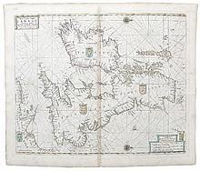 Pieter Goos, 1615-1675, Amsterdam  Pas-caart vant canaal  Vestoonen