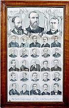 THE IRISH PARTY  A large framed lithograph, 32 Ç x 19 ins, including po