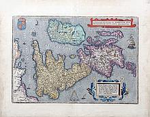 Abraham Ortelius, circa 1570, Antwerp  Anglia, Scotiare et Hibernia Siv