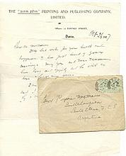 ARTHUR GRIFFITH AND PADRAIG MACMANUS  An autograph signed letter from A
