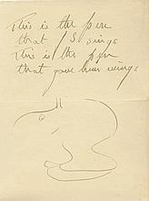 Stephens, James, (1880 - 1951), Irish Author of Fantasy. Autograph Caricatu
