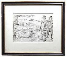 Thomas Fitzpatrick (1860 - 1912)  Budget Shearing  Ink on paper, 22