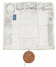 PATENT ON VELLUM WITH SEAL OF GEORGE IV  A manuscript Patent on a large