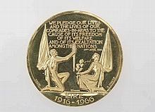 A 1966 50th Jubilee Gold Medallion made by warboys of Dublin, designed by P