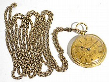 An 18ct gold cased open face pocket watch, the