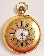 An 18ct gold half hunter pocket watch, the