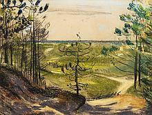 Forest path leading through dunes towards the sea by Jan Altink (attr.)