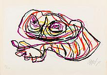 Resting frog (1978), a screen print in colours by Karel Appel