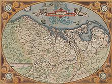 Very decorative Ortelius map of XVII Provinces