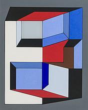 Abstract composition in gouache by Guy Vandenbranden