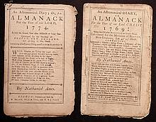[Group of 2]  Ames, Nathaniel.  Astronomical Diary:  Or, Almanack for... 1769, 1774.