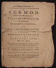 [Colonial Boston Imprint]  Checkley, Samuel.  A Day of Darkness.  A Sermon Preach'd before...William Shirley...His Majesty's Council, and House of Representatives of...Massachusetts-Bay...1755
