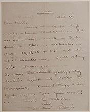 Lewis, Sinclair.  Signed manuscript letter and photo