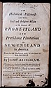 [Rhode Island]  Callender, John.  An Historical Discourse on the Civil and Religious Affairs of the Colony of Rhode-Island and Providence Plantations in New-England....