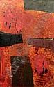 Edo MURTIC (1921-2004) Composition sur fond rouge.