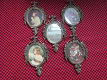 5 VINTAGE MADE IN ITALY ORNATE ANTIQUED' BRASS PORTRAIT MINIATURE PICTURE FRAMES