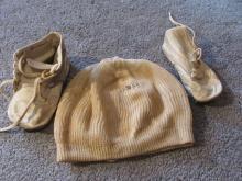 Vintage Babys Hat Bonnet & Shoe