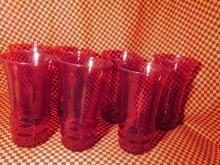 Vintage Ruby Red Bubble Glasses / Tumbler 8pc. 5 5/8 Each