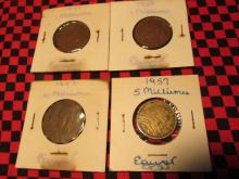 Elf Kingdom 10 Milliemes, 1938 1 Milliemes, 1957 5 Milliemes Egypt Mix lot 4pc