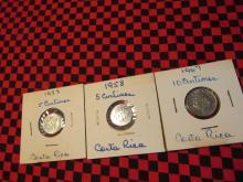 Costa Rica 1953 5 Centimos, 1958 5 Centimos,  1967 10 Centimos Mix Lot