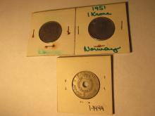 1 Krone Norway Coin 1950,1951,1959 3pc. Lot