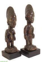 Yoruba Ibeji PAIR of Twin Figures Stands Nigeria Africa