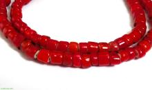 Red Whitehearts Venetian Flat End Trade Beads Old Africa