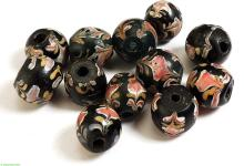 12 Venetian Trade Beads Black Pink Floral African Loose