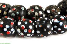 Black Skunk Venetian Trade Beads White and Red Spotted