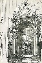 Wyczółkowski Leon - WAWEL CATHEDRAL - INTERIOR, 1911, autolithography, paper