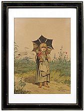 Kozakiewicz Antoni - ON THE WALK WITH DOLL 1874, watercolour, paper