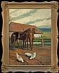 Piotrowski Antoni - HORSES IN FRONT OF THE COTTAGE, 1917, oil, plywood