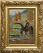 Kossak Jerzy - FROM SPAIN. CHEVAU WATERING A HORSE, 1934, oil, cardboard