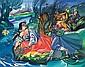 Stryjeńska Zofia - FLOATING WREATHS DOWN THE VISTULA RIVER, 1950-52, tempera,gouache, canvas on cardboard