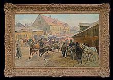 Wasilewski Czesław (I. Zygmuntowicz) - MARKET IN THE TOWN , oil, canvas