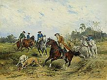 Chełmiński Jan - HARES HUNTING, oil, board