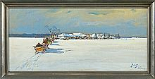 Fałat Julian - WINTER AT POLESIE, watercolour, gouache, cardboard