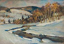 Filipkiewicz Stefan - SNOW AT THE TATRA MOUNTAINS, CIRCA 1920, oil, cardboard