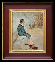 Hofman Vlastimil - FIDDLER GIRL, 1920-30, oil, cardboard