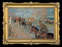 Kossak Jerzy - HORSE ARTILLERY, 1930, oil, canvas on cardboard