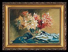 Erb Erno - CHRYSANTEMUMS , watercolour, gouache, paper