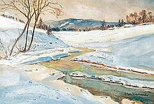 Filipkiewicz Stefan - WINTER LANDSCAPE, watercolour, gouache, paper