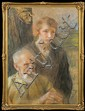 Axentowicz Teodor - OLD AND YOUNG,1927, pastel, watercolour, paper