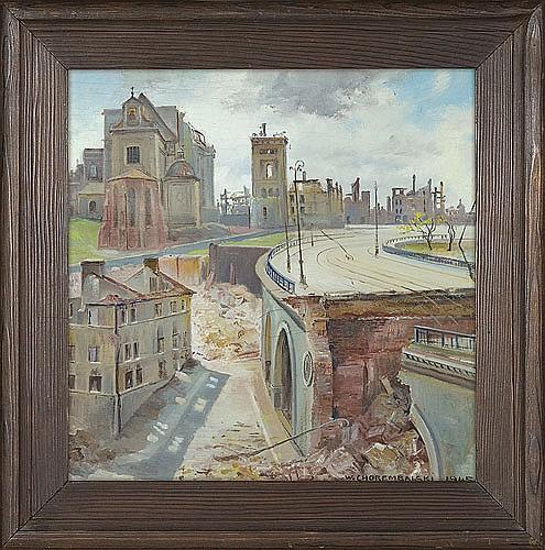 Chorembalski Wawrzyniec - WARSAW '45, 1945, oil, plywood