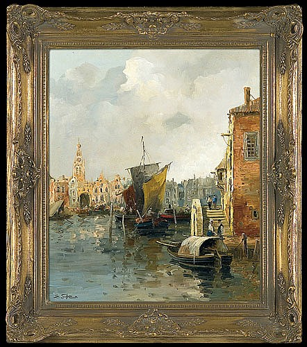 Demmin Erich - THE OLD CANAL IN AMSTERDAM, oil, canvas