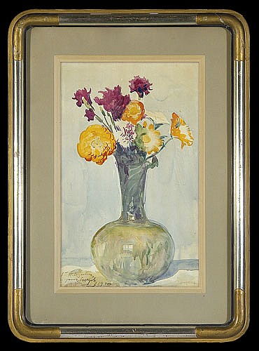 Wyczółkowski Leon - A BOUQUET OF FLOWERS IN A GLASS VASE, 1920, watercolour, paper