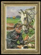 Kossak Wojciech - UHLANG BANDAGING HORSE, 1936, oil, cardboard