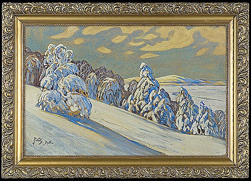 Fałat Julian - WINTER LANDSCAPE (BYSTRA), watercolour, gouache, cardboard