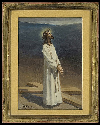 Styka Jan - CHRIST AT GOLGOTA, 1895, oil, board